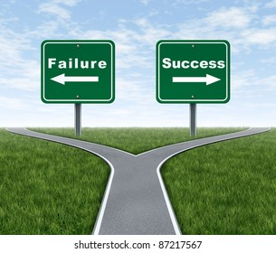 Success and failure symbol with a forked road and road sign as Failing and another successfully with arrows for turning in the direction that is chosen after facing the difficult dilemma.
