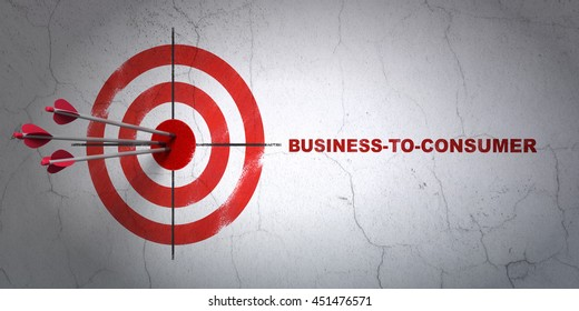 Success finance concept: arrows hitting the center of target, Red Business-to-consumer on wall background, 3D rendering