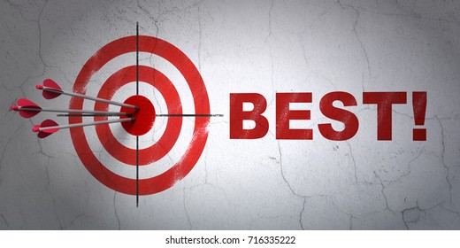 Success finance concept: arrows hitting the center of target, Red Best! on wall background, 3D rendering
