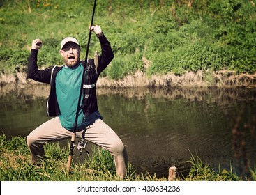 Success fishing, man with fishing rod. Funny, fun