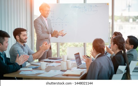 The Success. Group Business Corporate People Meeting and Happiness Clapping Congratulation- Organization, Recruitment, Corporate Meeting, Conferences, Event ,Training . Business Team Worker Office.