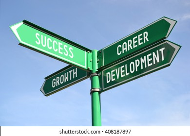 Success, growth, career, development signpost