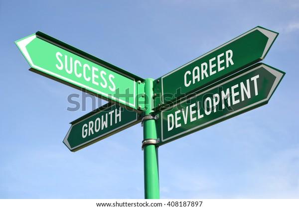 Success, growth, career, development signpost