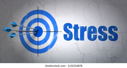 Success Healthcare concept: arrows hitting the center of target, Blue Stress on wall background, 3D rendering