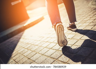 success ideas concept with people walking to the light on street outdoor