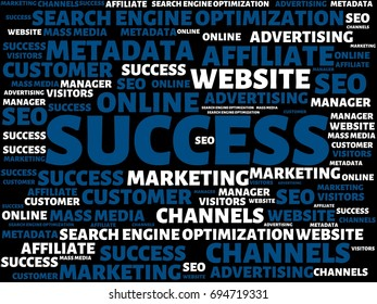 - SUCCESS - image with words associated with the topic ONLINE MARKETING, word, image, illustration