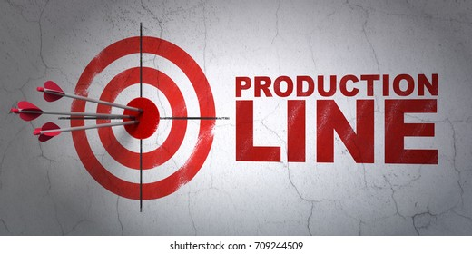 Success Industry concept: arrows hitting the center of target, Red Production Line on wall background, 3D rendering
