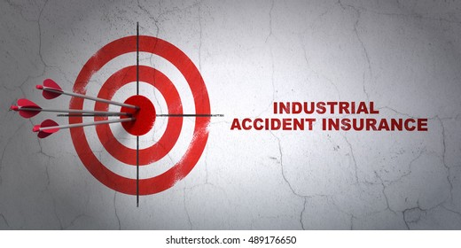 Success Insurance concept: arrows hitting the center of target, Red Industrial Accident Insurance on wall background, 3D rendering
