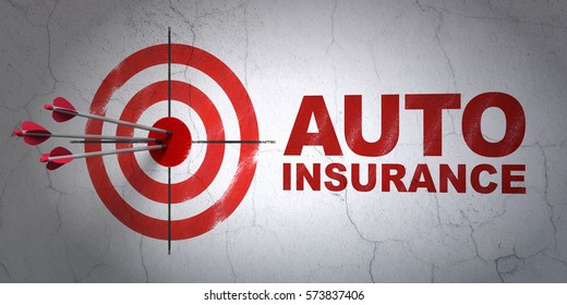 Success Insurance concept: arrows hitting the center of target, Red Auto Insurance on wall background, 3D rendering