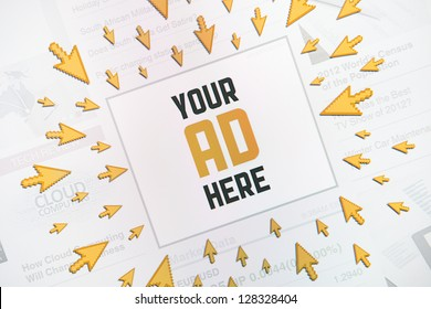 "Success internet banner advertisement with text ""YOUR AD HERE"" and lot of clicking pointers around banner. Conceptual image."