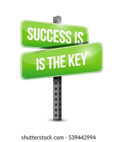 Success is the key street sign concept illustration design graphic