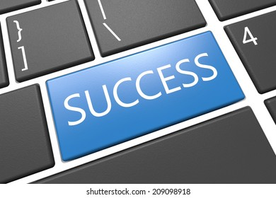 Success - keyboard 3d render illustration with word on blue key