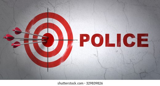 Success law concept: arrows hitting the center of target, Red Police on wall background