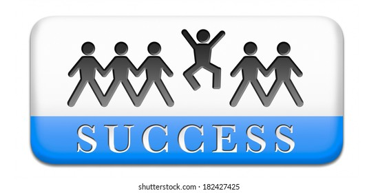 success in life business and live in happiness and joy succeed in plan being successful concept on button icon or sign