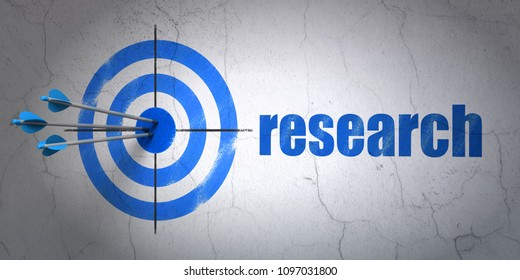 Success marketing concept: arrows hitting the center of target, Blue Research on wall background, 3D rendering