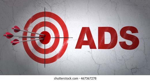 Success marketing concept: arrows hitting the center of target, Red Ads on wall background, 3D rendering