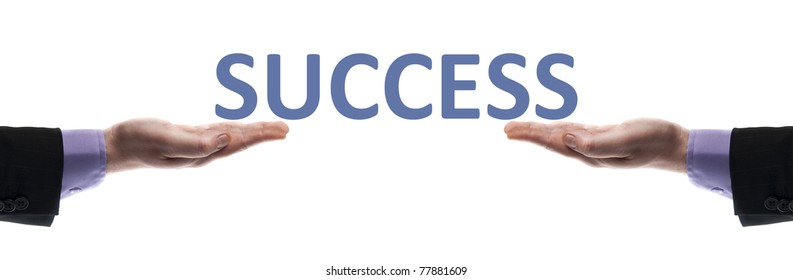 Success message in male hands