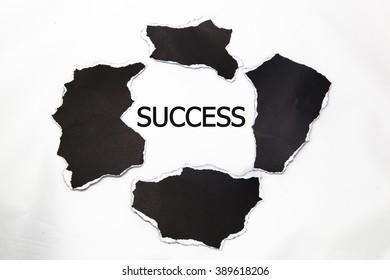 success message written under torn paper