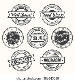 Success motivational and inspirational creative stamps or badges set. Isolated on white. Free font used