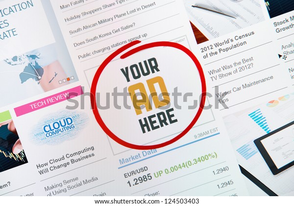 """Success online internet banner with text """"YOUR AD HERE"""" on a web site. Web page with all pictures and informations are created by contributor himself."""