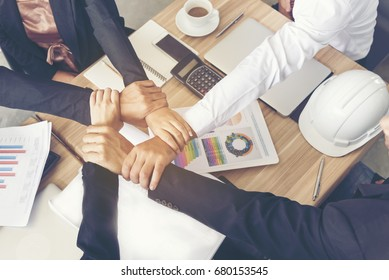 Success Partnership Concept.  Business Partners Team meeting  Successful Teamwork Hands Gesture. Partnership Business Concept.