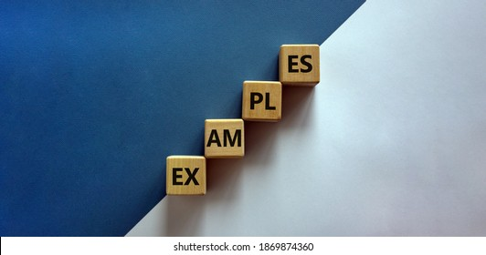 Success process and examples symbol. Wood blocks with word 'examples' stacking as step stair on paper blue and white background, copy space. Business and examples concept.