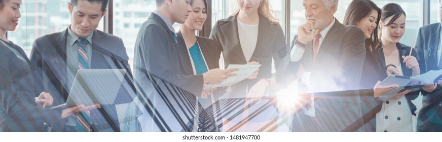 The Success, Professional Business People Discussion office Organization,Group Business Team Meeting Office Workplace, Cooperation Business. Communication Training, Coach Asia, Working Space.