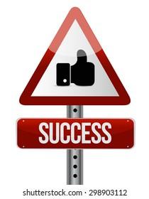 success road sign illustration design over white