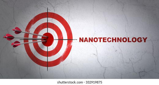 Success Science concept: arrows hitting the center of target, Red Nanotechnology on wall background