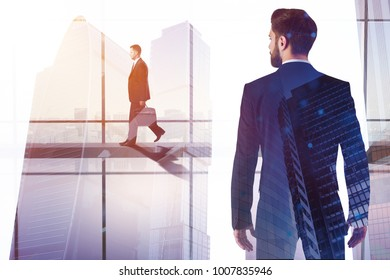 Success and search concept. Businessman walking on abstract city background with copy space. Toned image. Double exposure