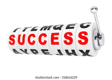 Success Signs lines up for a jackpot on a Slot machine wheels on a white background