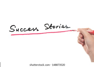 Success stories words written on white board