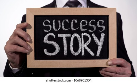 Success story written on blackboard in businessman hands, start new business, stock footage