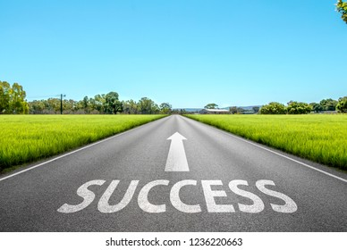 Success text on long road. A long straight road and blue sky.