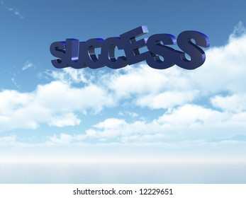 success text in the sky - 3d illustration