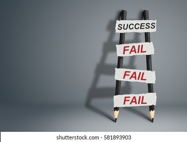 To success through failures creative concept, pencil Ladder