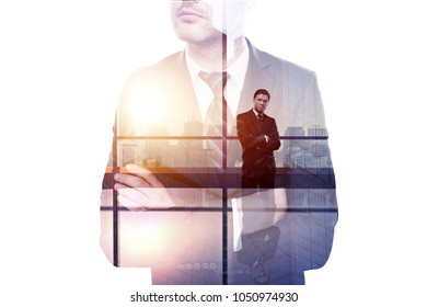 Success and tomorrow concept. Thoghtful young businessman on abstract office city background with sunlight. Double exposure