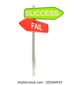 Success versus failure as roadsign post isolated on white
