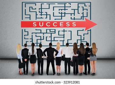 Success word maze and business team thinking solution