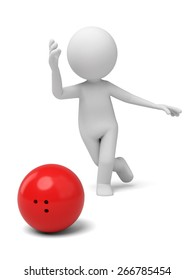 success/3d people play bowling. 3d image. Isolated white background
