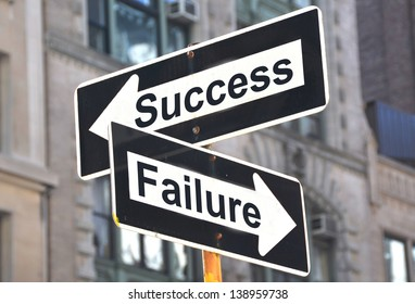 Success-Failure signs on the street
