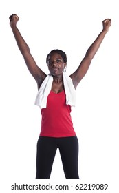 successful african young woman after her exercise (isolated on white)
