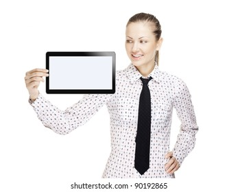 successful beautiful young business woman holding open hand palm with a tablet pc on it , touchpad pc