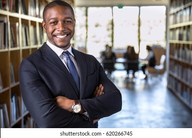 Successful black male business corporate leader portrait at office workspace meeting