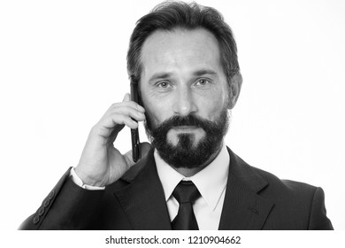 Successful business call. Before call write down information must convey and anything need ask client. Businessman calling client hold smarphone. Man bearded manager phone conversation calm face.