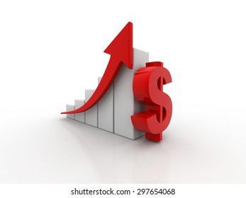 Successful business dollar bar graph diagram rising arrow. concept 3d render illustration