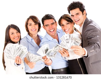 Successful business group with lots of money - isolated over a white background