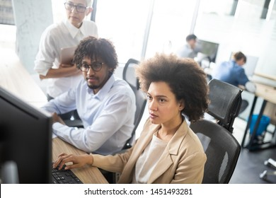 Successful business group of people at work in office