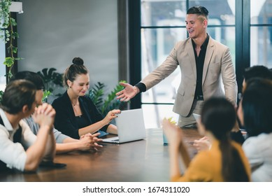 Successful business group of people at work in co-working space office