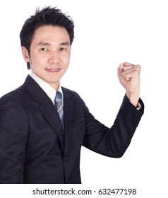 Successful business man with arm raised isolated on white background